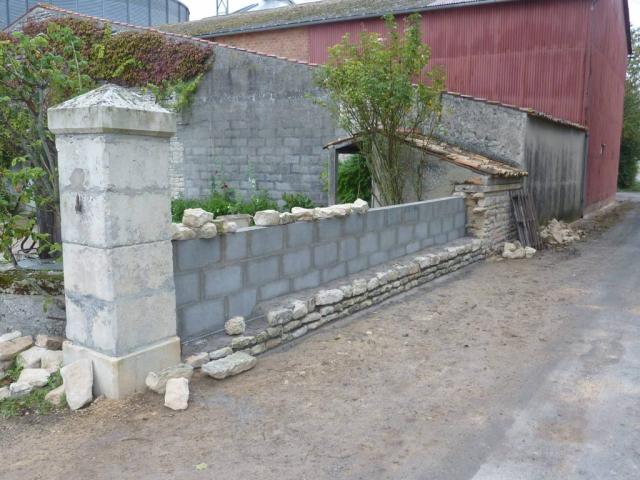 Mur pendant les travaux